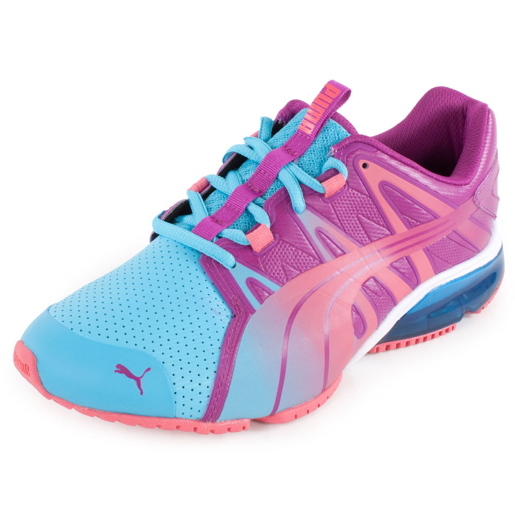Women`s PowerTech Voltaic DipDye Running Shoe Blue Atoll and Magenta