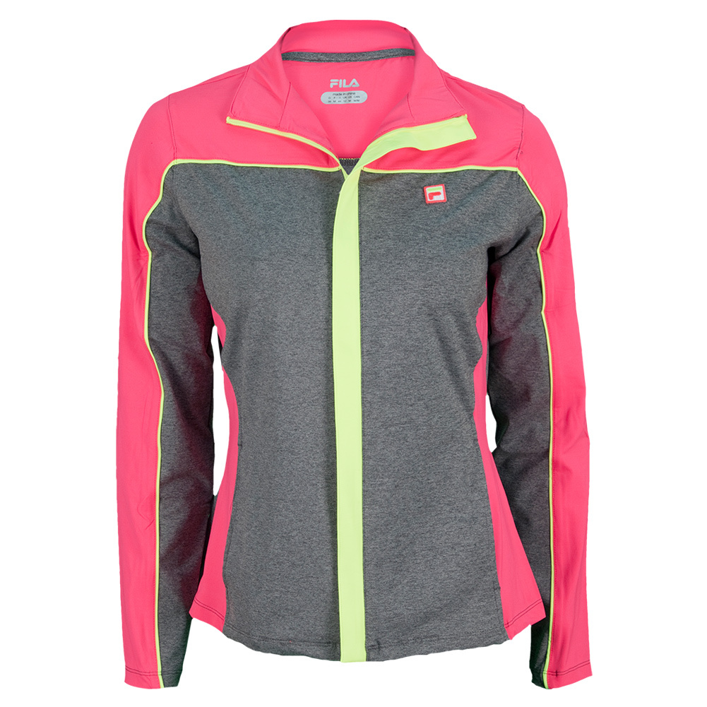Women's Baseline Tennis Jacket Heather Gray And Diva Pink