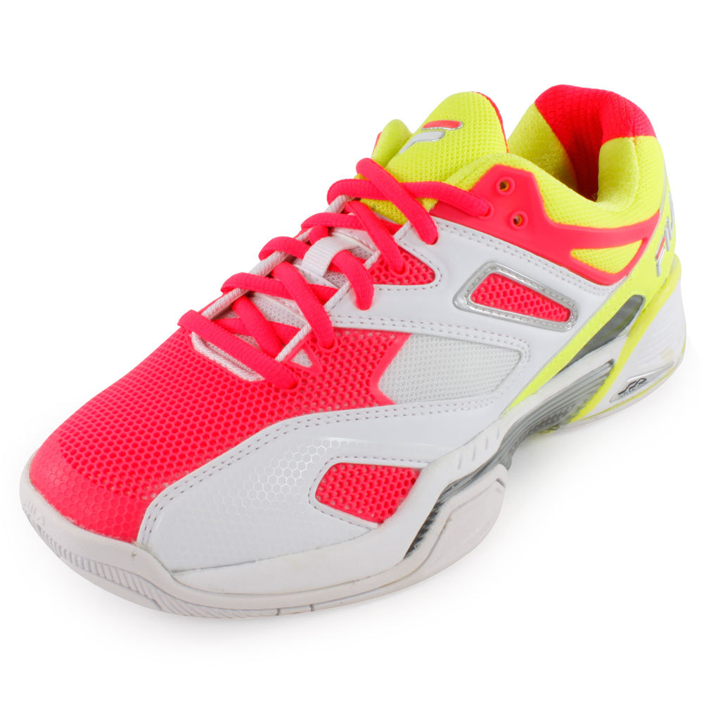 Women's Sentinel Tennis Shoes White And Safety Yellow