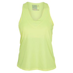 LUCKY IN LOVE WOMENS V NECK TENNIS TANK LEMON YELLOW
