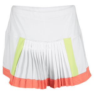 LUCKY IN LOVE WOMENS COLOR BLOCK PLEAT TENNIS SKIRT WH