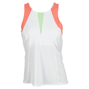 LUCKY IN LOVE WOMENS COLOR BLOCK TENNIS TANK WHITE/ORG
