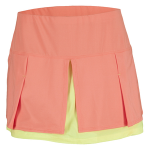 LUCKY IN LOVE WOMENS PLEAT LAYERED TENNIS SKIRT ORANGE