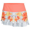 LUCKY IN LOVE Women`s Flower Stencil Tier Tennis Skirt Print