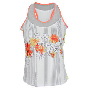 LUCKY IN LOVE WOMENS STENCIL FLOWER RACERBACK TANK PRT