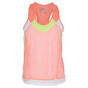 LUCKY IN LOVE WOMENS MESH LAYER CROP TANK ORANGE