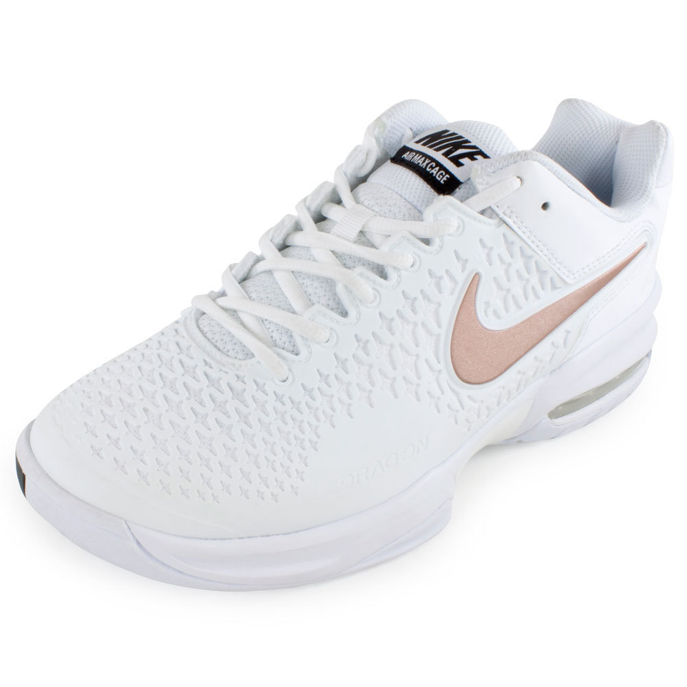 nike s air max cage tennis shoes white and metallic