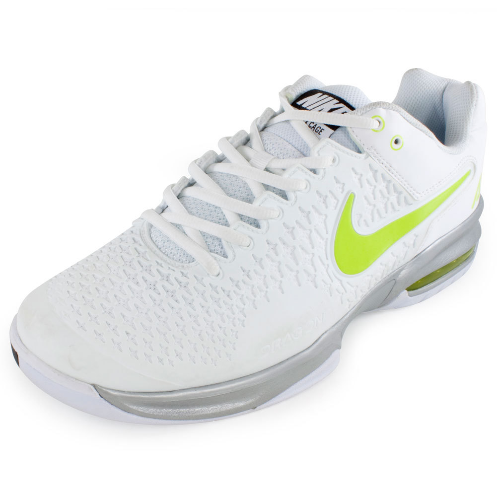 nike s air max cage tennis shoe white and metallic silver