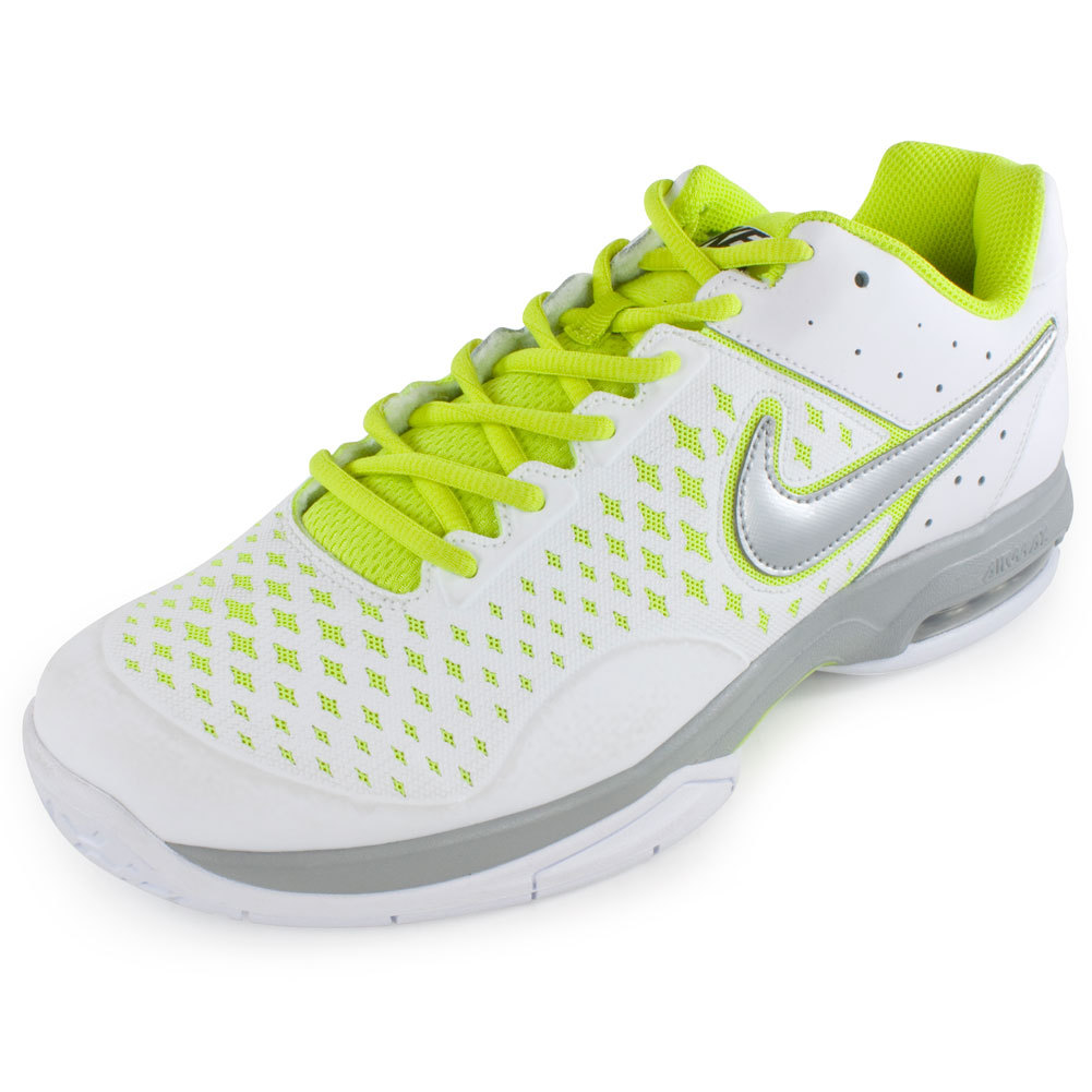 Men's Air Cage Advantage Tennis Shoes White And Venom Green