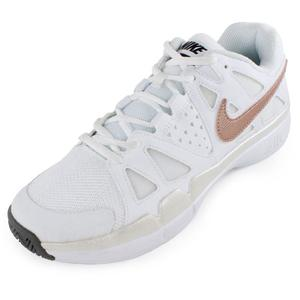 Women`s Air Vapor Advantage Tennis Shoes White and Metallic Red Bronze