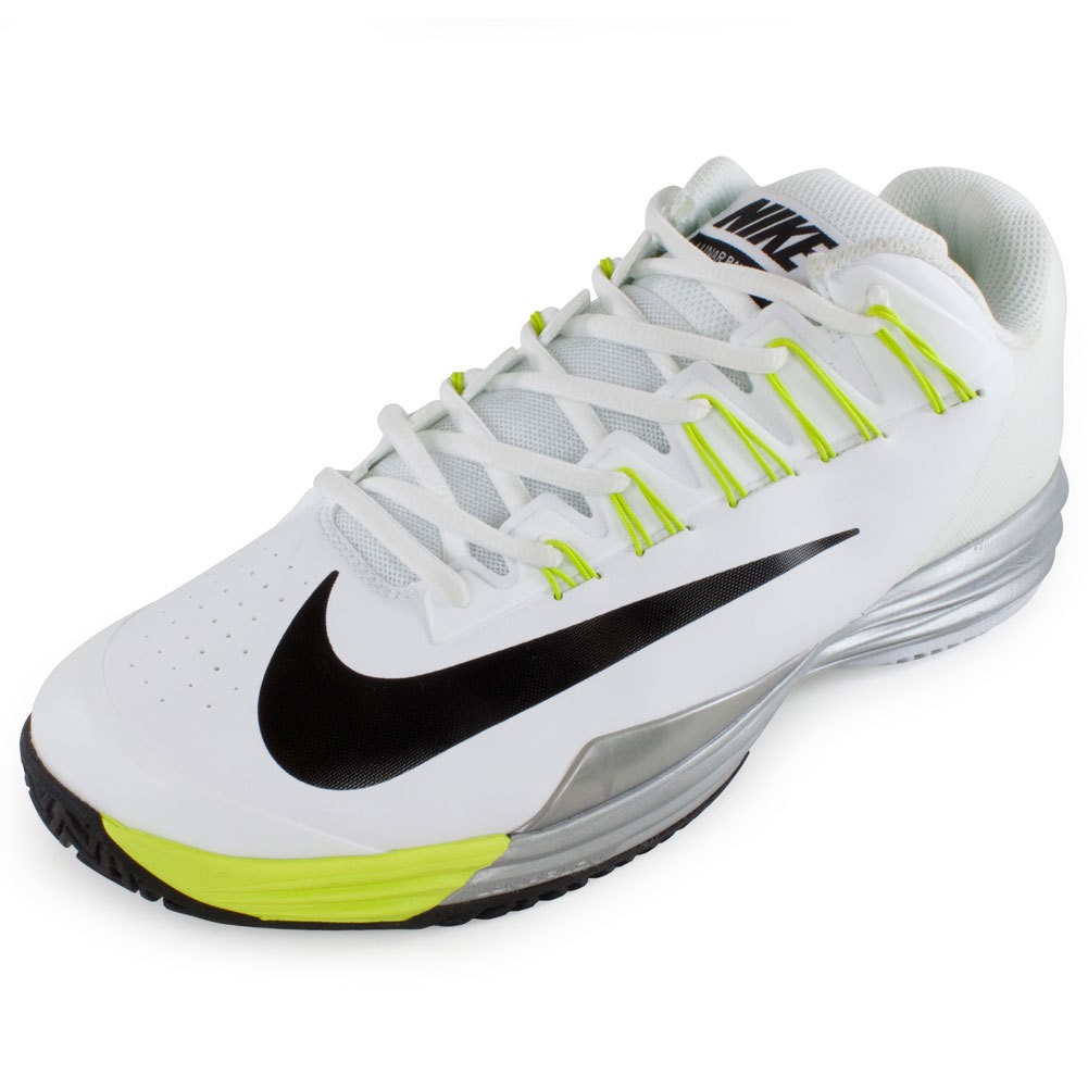 Men`s Lunar Ballistec Tennis Shoes White and Venom Green The Nike Mens Lunar Ballistec Shoes White and Venom Green are perfect for serious players Worn by Rafael Nadal these shoes offer the best in durability and comfort for the serious player Try them and feel the difference today Upper Evolved Flywire technol