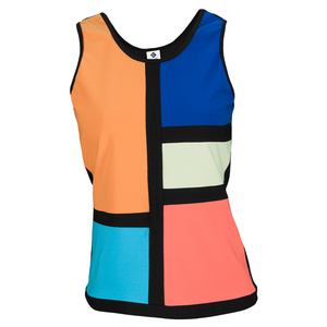 ELIZA AUDLEY WOMENS COLOR TENNIS TANK BLACK/MULTI