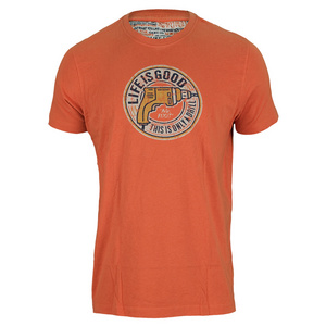 LIFE IS GOOD MENS DRILL TEE DEEP ORANGE