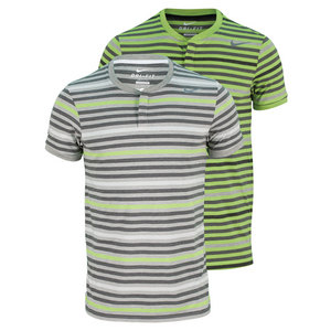 NIKE MENS DRI FIT TOUCH STRIPE TENNIS HENLEY