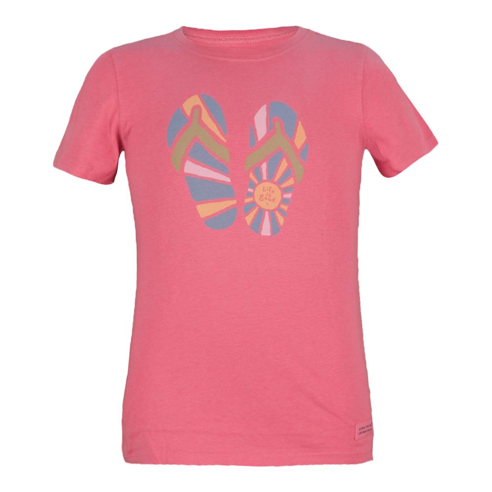 Girls'sunshine Flip Flops Tee Hibiscus Pink