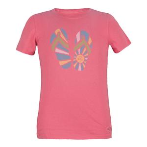 Girls` Sunshine Flip Flops Tee Hibiscus Pink