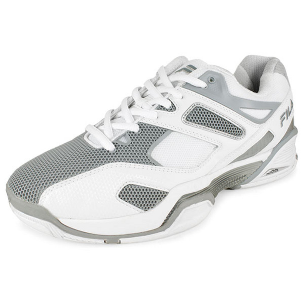 Men's Sentinel Tennis Shoes White And Metallic Silver