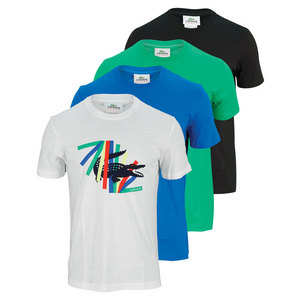 LACOSTE MENS MULTICOLOR CROC GRAPHIC TENNIS TEE