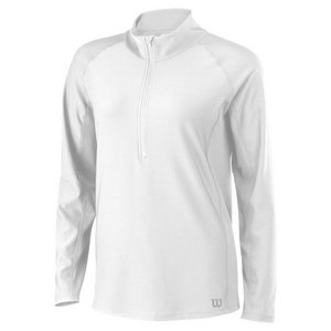 WILSON WOMENS RUSH 1/2 ZIP LS TENNIS TOP WHITE