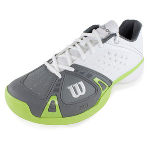 WILSON MENS RUSH PRO TENNIS SHOES WHITE/GREEN