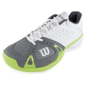 WILSON MENS RUSH PRO TENNIS SHOES WHITE/GREEN