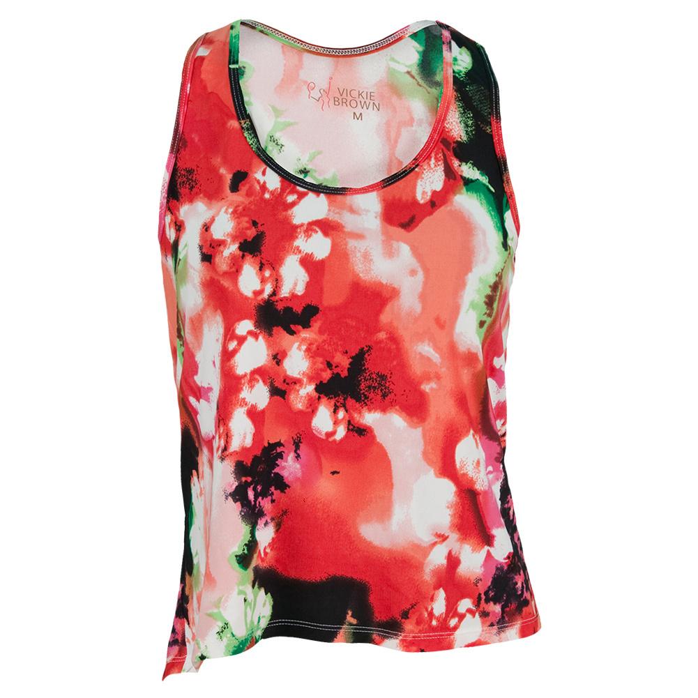 Women's Swing Tennis Tank Pink Floral Print