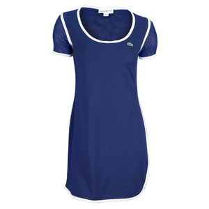 LACOSTE WOMENS MESH SS TENNIS DRESS METHYL BLUE