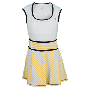 ELEVEN WOMENS BIG SERVE STRIPE TENNIS DRESS WH