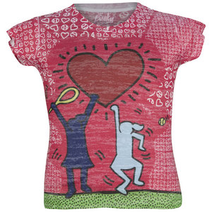 LUCKY IN LOVE GIRLS TENNIS BURNOUT TEE PRINT