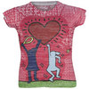 LUCKY IN LOVE Girls` Tennis Burnout Tee Print