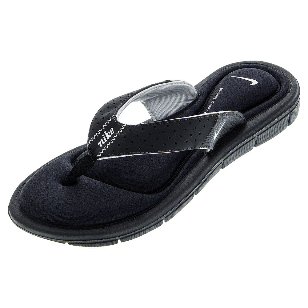 Women`s Nike Comfort Thong Black Nike Womens Comfort Thong SlippersStylish yet comfortable the 8mm of memory foam provide the ultimate cushioning and feel for your feet The Nike Womens Comfort Thong Sandal is a great way to relax your feet after an intense tennis match UPPER Mesh synthet