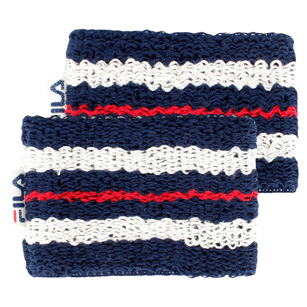 Retro Tennis Wristbands Features of the Fila Retro Tennis Wristbands include Soft absorbent cotton fabricationSpandexNylon blend for stretch225 widthRetro style