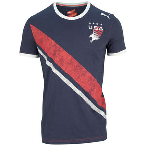 PUMA MENS PITCH USA TEE PEACOAT