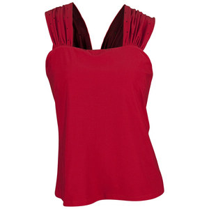 ELIZA AUDLEY WOMENS CONVERTIBLE STRAP TENNIS TOP RED