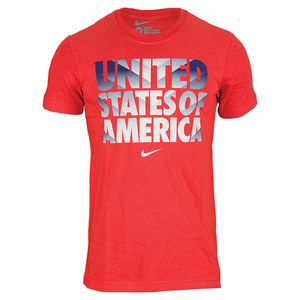 NIKE MENS USA CORE TYPE TEE CHALLENGE RED