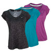 NIKE Women`s Printed Miler Short Sleeve V-Neck