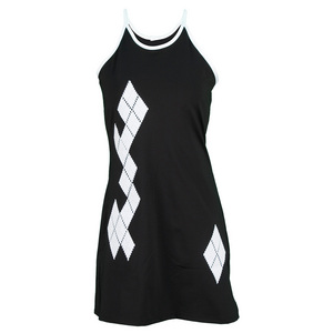 VICKIE BROWN WOMENS ARGYLE TENNIS DRESS BLACK/WHITE