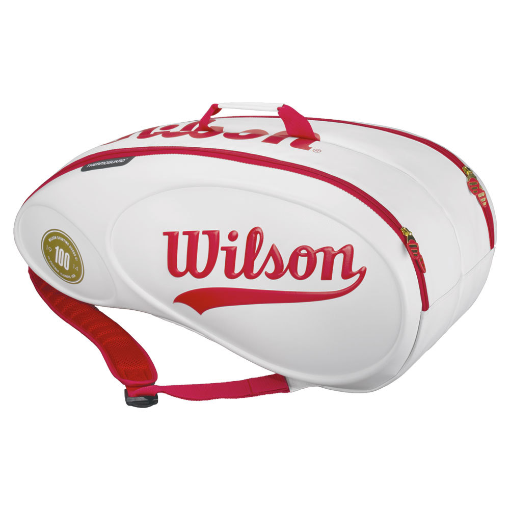 100 Year Tour 9 Pack Tennis Bag White And Red
