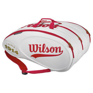 WILSON 100YR TOUR 15 PACK TENNIS BAG WHITE/RED