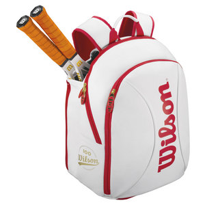 WILSON 100YR TOUR SMALL TENNIS BACKPACK WH/RD