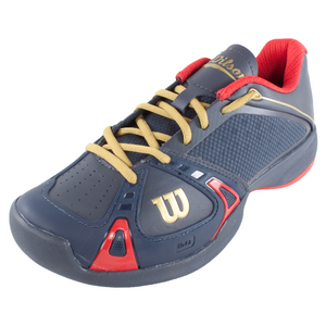 WILSON WOMENS 100YR RUSH PRO TNS SHOES COAL/RD