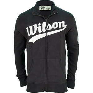 WILSON MENS FULL ZIP LOGO TENNIS SWEATSHIRT BK