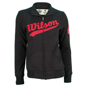 WILSON WOMENS FULL ZIP LOGO TNS SWEATSHIRT BK