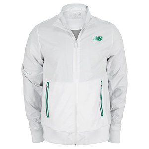 NEW BALANCE MENS GEOSPEED TENNIS JACKET WHITE/GN