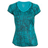NIKE Women`s Advantage Printed Tennis Top Turbo Green and Black