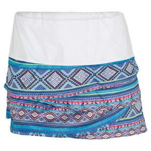 LUCKY IN LOVE WOMENS MAYAN SCALLOP TENNIS SKIRT PRINT