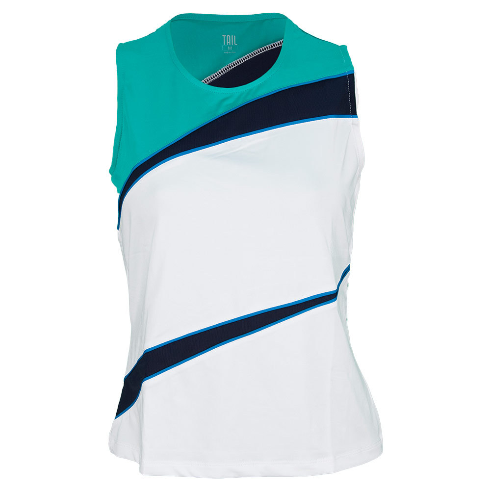 Women's Carolina Tennis Tank White And Sea Glass