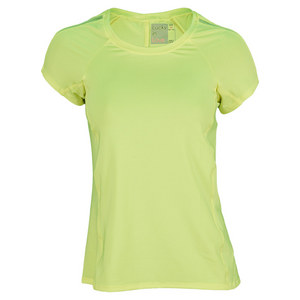 LUCKY IN LOVE WOMENS BACK PLEAT CAP SLV TNS TOP YELLOW
