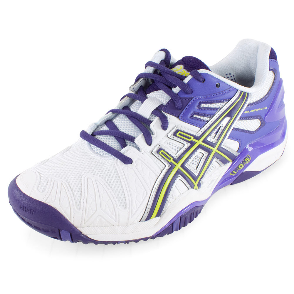 asics s gel resolution 5 tennis shoes white and