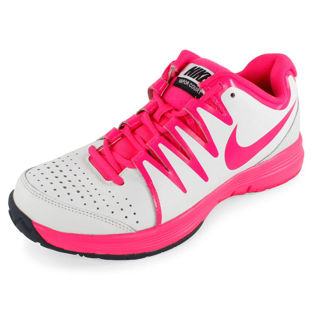 Nike Women's Vapor Court Tennis Shoes Ivory and Hyper Pink White - Tennis Express